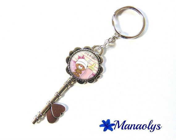 "Door keys or bag charm, birth announcement, ""It's a girl"", 156 glass cabochons"