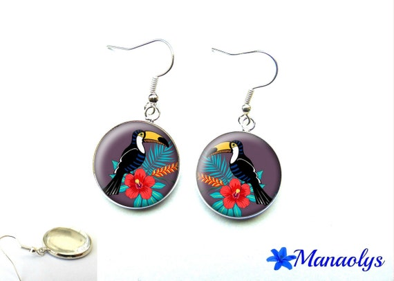 Cabochons glass toucan and 2133 exotic flower Silver earrings