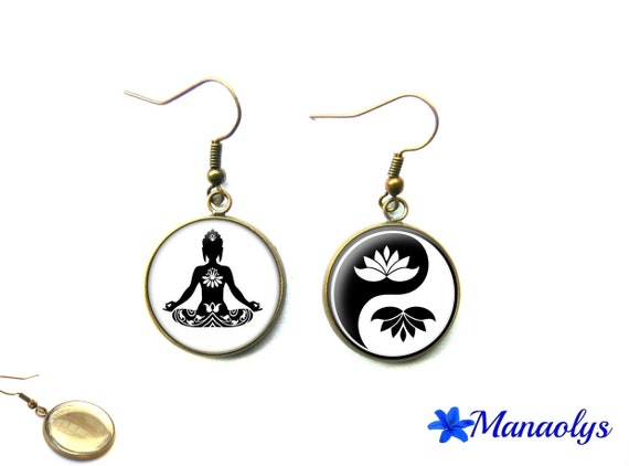 Ying yang zen Buddha, lotus flower, bronze vintage glass 3225 cabochons earrings