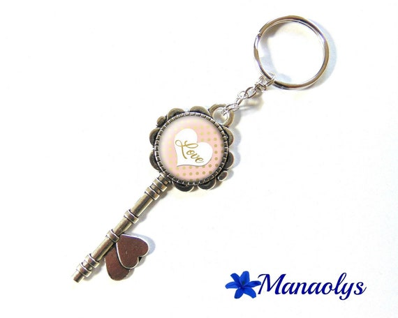 Door keys or jewelry bag, silver key and cabochons glass heart and polka dots, love 119