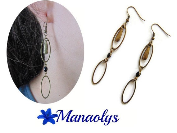Long earrings, bronze, vintage, oval rings, drops and enamel