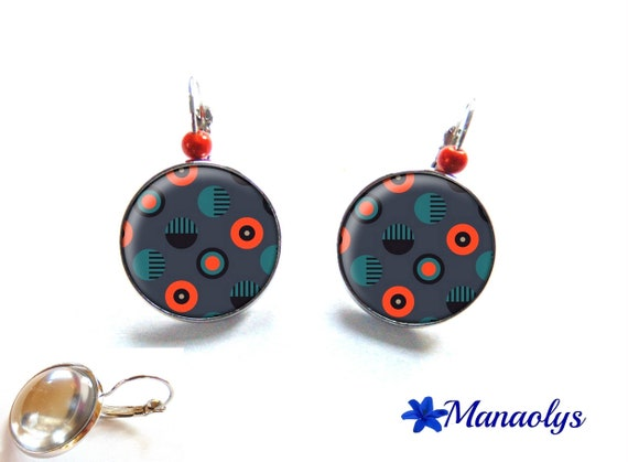 Stud Earrings-orange and gray, glass cabochons, beads magic 3089