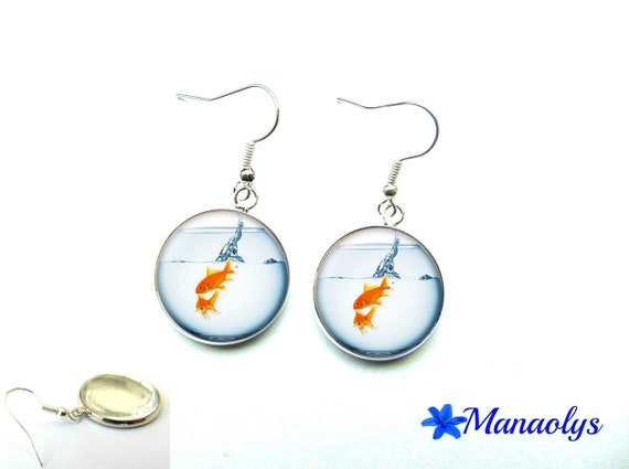 Goldfish 1266 glass cabochons earrings
