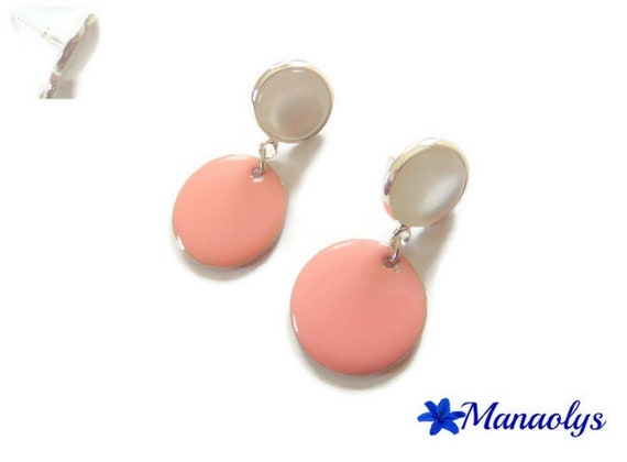 Stud Earrings, white cabochons in resin and pink enamel pendants, mother's day