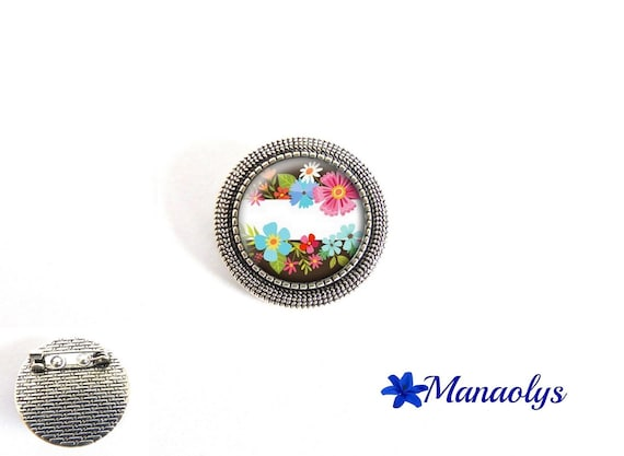 Brooch multicolored flowers, colorful brooch, 39 glass cabochons