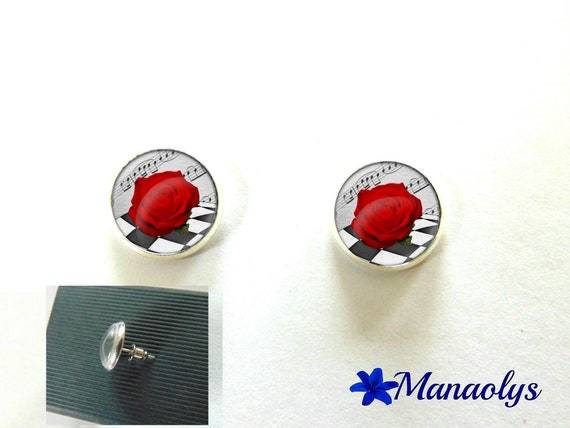 Silver Stud round earrings, red roses, flowers, cabochons glass 3082