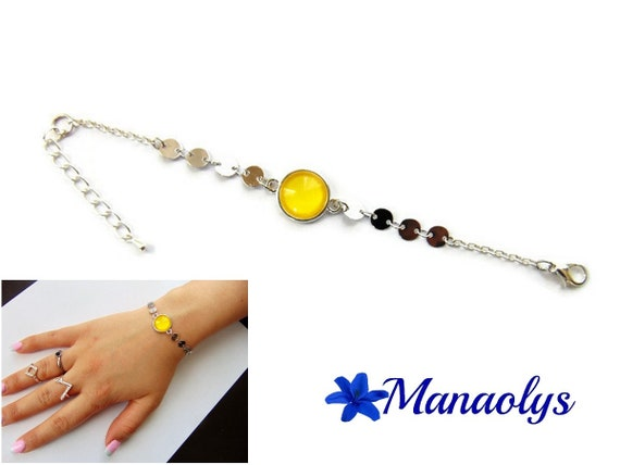 Bracelet fine cabochon yellow glass, silver chains, gift idea, birthday, mothers day