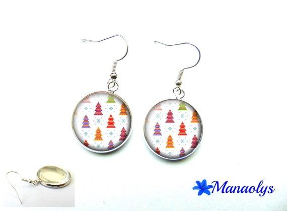 Christmas tree earrings, Christmas, Christmas gift, 3633 glass cabochons