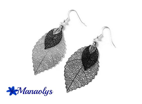 Lightweight earrings, feathers, leaves, silver and black 3220