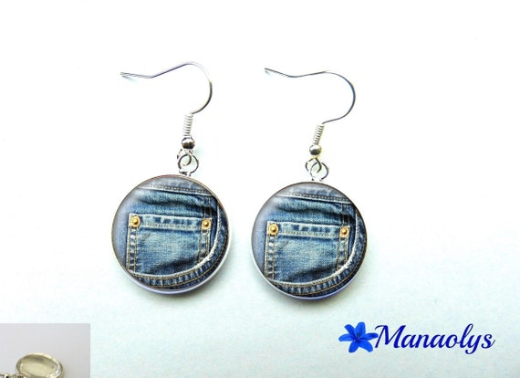 John 43 glass cabochon earrings