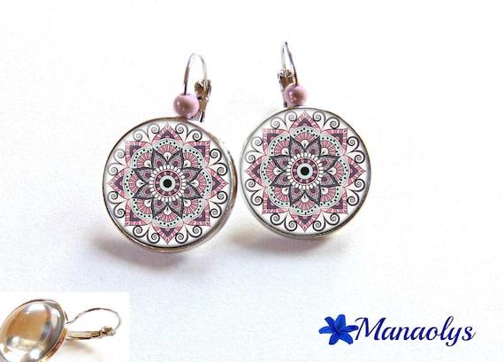 Dangle earrings, flowers, mandala, ethnic, pink, 3198 glass cabochons
