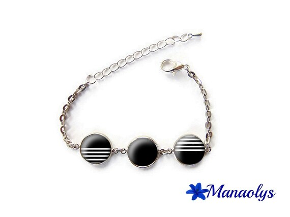 Bracelet cabochons round glass, silver chain, black and white stripes
