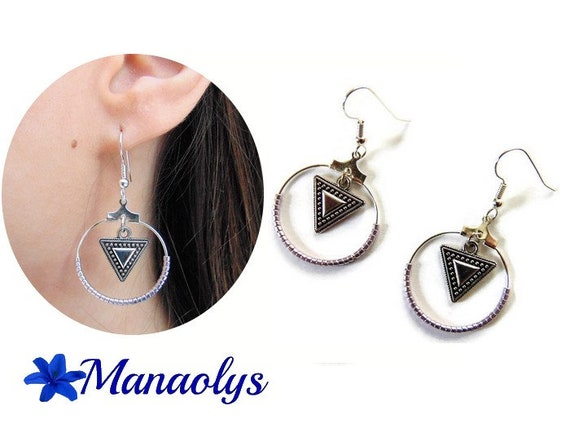Hoop earrings, silver rings, earrings miyuki beads and triangles, ethnic pendants