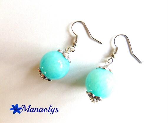 Pearl blue agate stones earrings