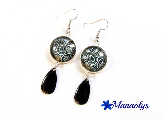 Paisley pattern black and white cabochons glass, drop charm earrings black enamel, mother's day 2440