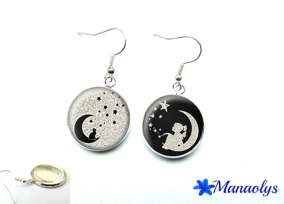 Silver earrings cabochon glass cat and girl on Moon 2580
