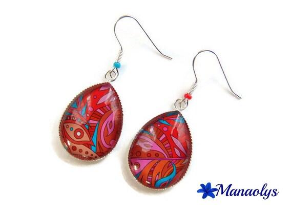 Earrings sleepers silver, drop shape, cabochons glass 3046