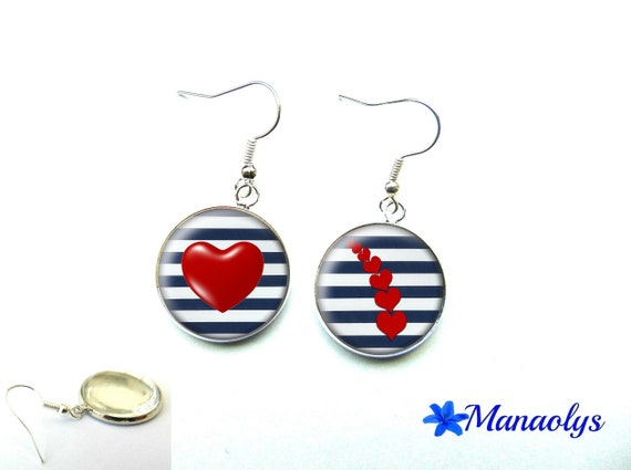 Nautical earrings, red hearts, glass, mother's day 1188 cabochons