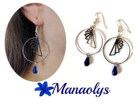 Creole earrings silver, steel fan drops enameled Navy Blue