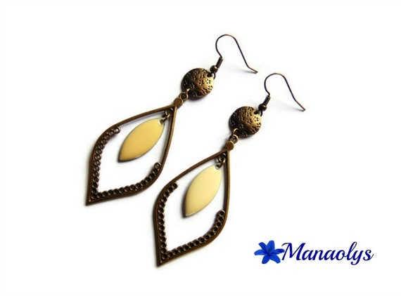 Earrings long vintage bronze colour, drop shape, glazed beige pendants 2921