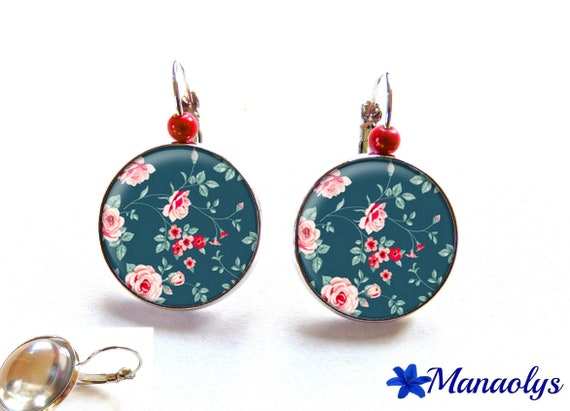 Earrings sleepers silver, red roses on blue background, 2911 glass round cabochons