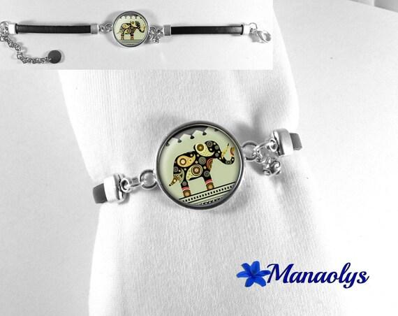 Black leather, ethnic elephants 129 glass cabochon bracelet