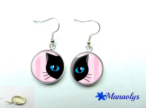 Earrings cat amid pink 238 glass cabochons