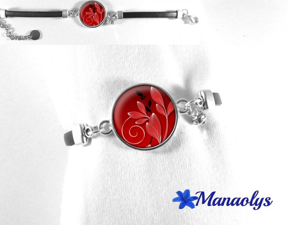 Bracelet leather leaves and red and black arabesques, cabochon glass 491