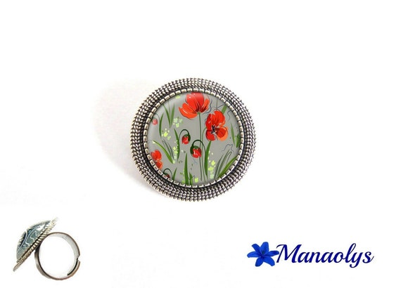 Poppy ring adjustable round silver aged, red flowers, glass cabochons