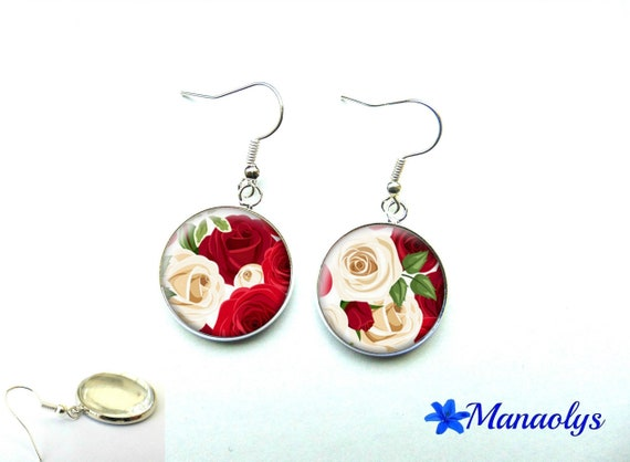 Romantic earrings red and ivory roses, 1119 glass cabochons
