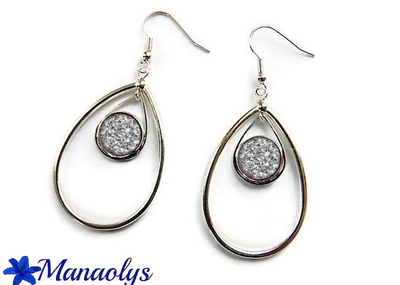 Silver drop earrings silver, 3111 glass cabochons