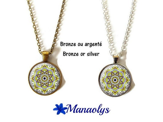 Collar or necklace flowers, mandala, ethnic, yellow, glass, silver or bronze supports cabochons