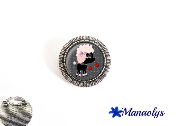 Brooch round silver aged, humor, dog, 19 glass cabochons