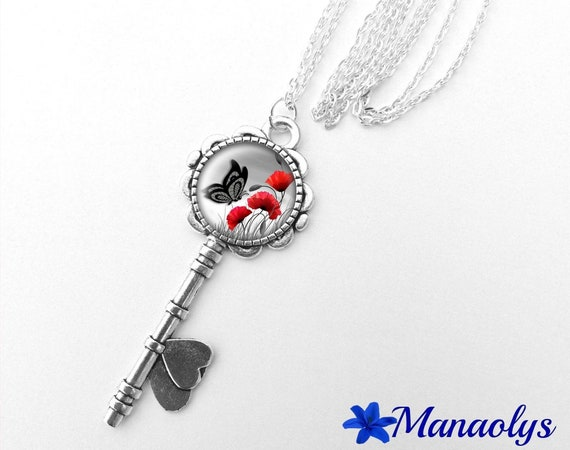 Necklace silver key, poppies and Butterfly 368 glass cabochons