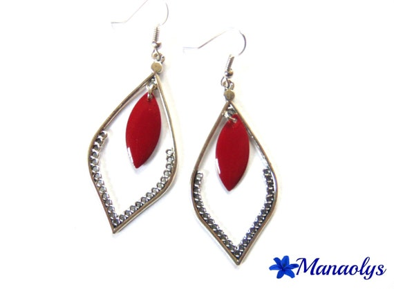 Silver drops earrings enameled Burgundy 2555