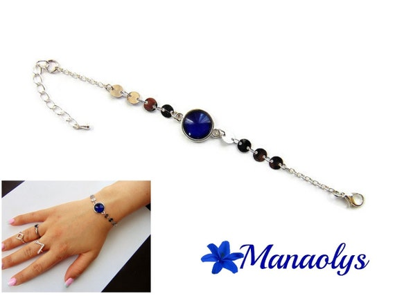 Bracelet cabochon fine Navy blue glass, silver chains, gift idea, birthday, mothers day