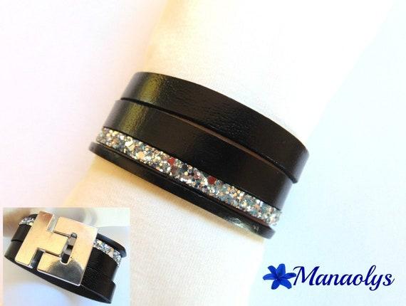 Cuff Bracelet black and silver glitter leather 411