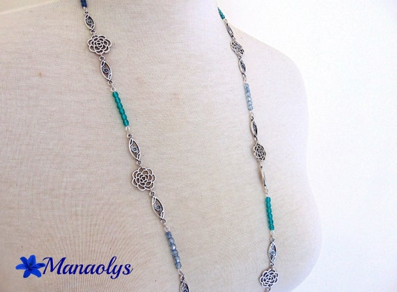 Necklace silver flowers, green and blue Bohemian beads 214