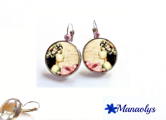 Vintage earrings, stud earring, bronze, glass, the little girl and roses 3560 cabochons
