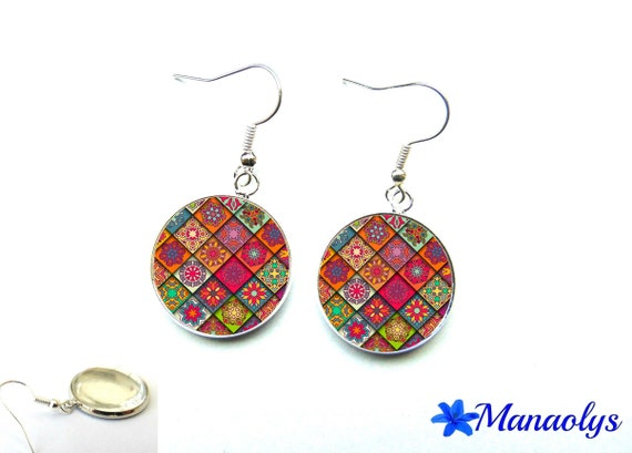 Colorful earrings, multicolor patchwork, 2534 glass cabochons