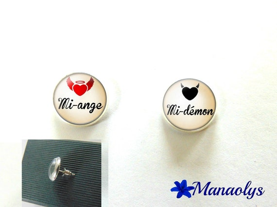 Round silver Stud Earrings, Angel, Devil 3230 glass cabochons
