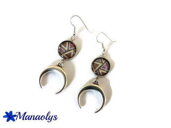 Half moon, horns, ethnic, glass cabochons earrings