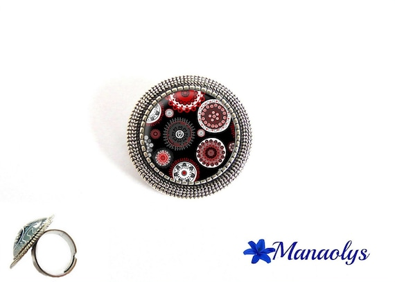 Ring adjustable antique silver round, floral design, Burgundy, gray, white, black, 176 glass cabochons