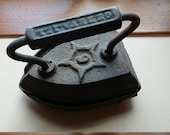 Antique Cast Iron Flat Iron with Stand