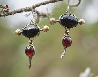 Gothic Earrings, Gemstone Earrings, Black Stone Earrings, Handmade Earrings, Bohemian Earrings, Boho Earrings, Unique Earrings, Avant Garde