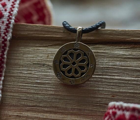 Lettische antike Zeichen Anhänger Halskette, Schutz Glück Schmuck, Sonne Anhänger, Bronze oder Sterlign Silber
