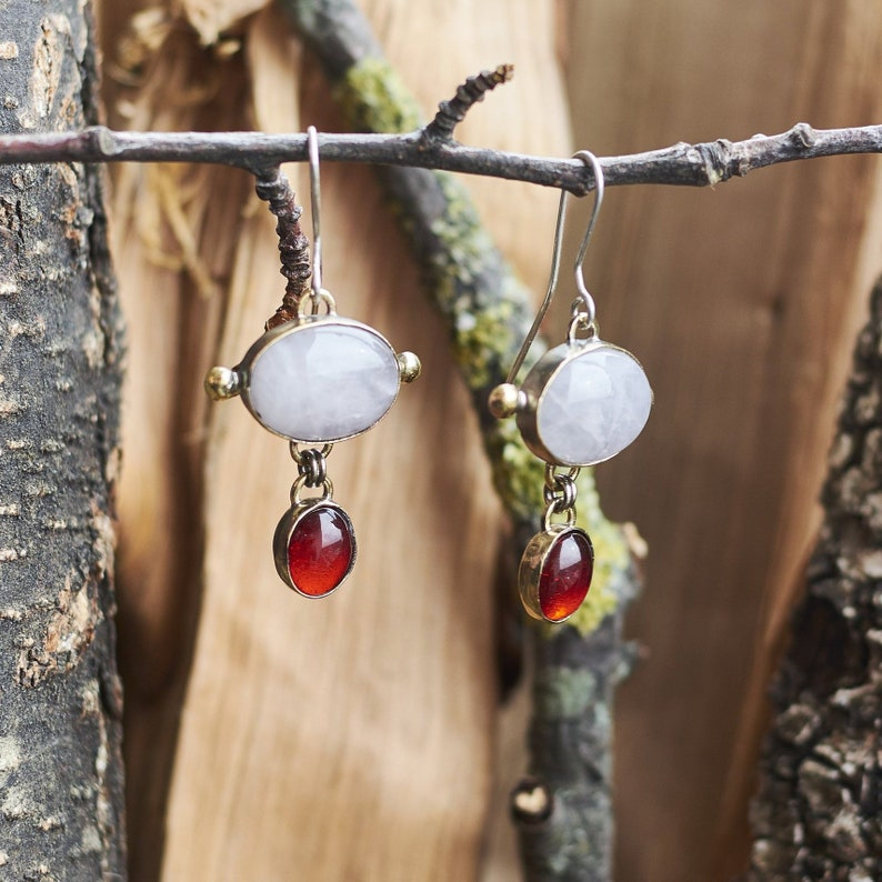 512d8f2e87be3 Agate Earrings, Red Stone Earrings, Witch Jewelry, Statement Drop Earrings,  Silver and Bronze Earrings, Gothic Jewelry, Unique Earrings Gift