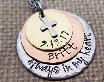 MEMORIAL mixed metal stacking necklace with name+ cross charm-ALWAYS in my heart