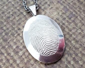 Small Framed OVAL FINGERPRINT pendant in SOLID .925 Sterling silver-not darkened fingerprint