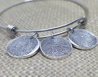 Ink-MEDIUM FINGERPRINT adjustable BANGLE in solid Fine .999 Silver, option of 1-3 charms